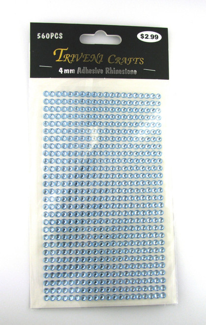 4mm Light Blue Flatback Rhinestones (560 pcs) Self-Adhesive - Easy Peel Strips
