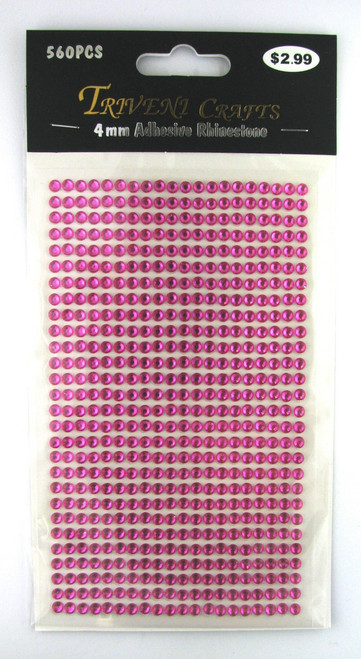 4mm Hot Pink Flatback Rhinestones (560 pcs) Self-Adhesive - Easy Peel Strips