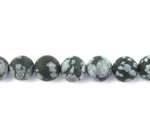 SPS0064 - Matte Snowflake Obsidian, 8mm Round (Approx. 15 in.)