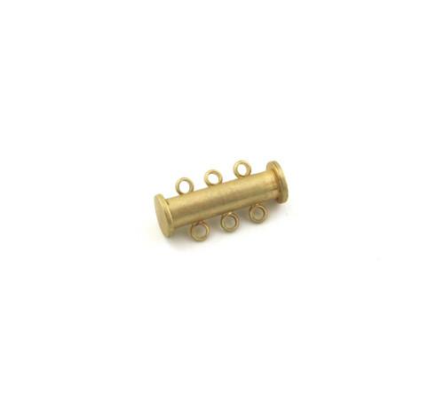 SHGP017 - 20mm 3-Strand Magnetic Tube Clasp, Satin Hamilton Gold Plated (each)