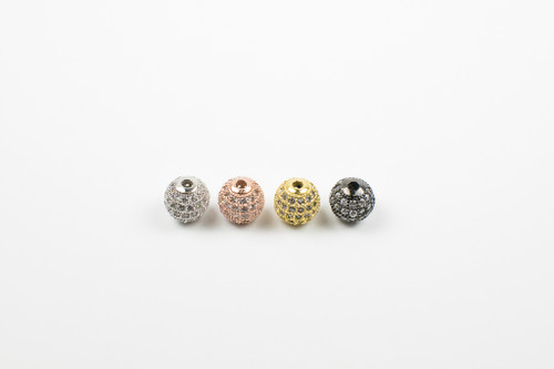 CZMP001 - CZ Round Beads w/White Crystal (4mm-12mm) (each)