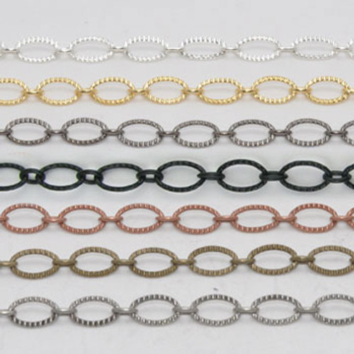 CH028 - 9mm x 6mm Textured Oval Chain, Solid Brass Electroplated (Per Foot)