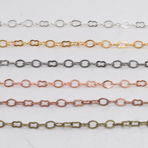 CH033 - 5mm x 3mm Link Chain, Solid Brass Electroplated (Per Foot)