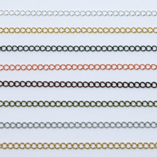 CH824 - 8mm Curb Chain, Solid Brass Electroplated (Per Foot)