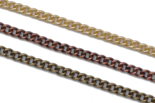 CH841 - 1.5mm Delicate Curb Chain, Solid Brass Electroplated (Per Foot)