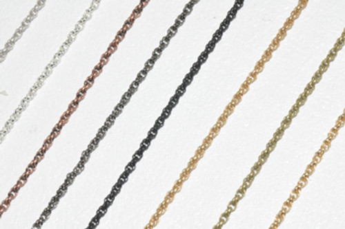 CH865 - 1.6mm Spiral Rope Chain, Solid Brass Electroplated (Per Foot)