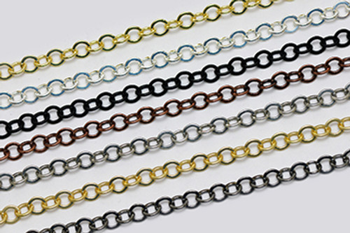 CH866 - 7.9mm x 7.5mm Smooth Flat Cable Chain, Solid Brass Electroplated (Per Foot)