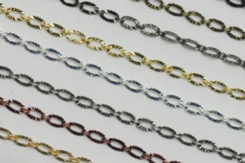 CH867 - 3mm x 4.8mm Textured Oval Linked Chain, Solid Brass Electroplated (Per Foot)