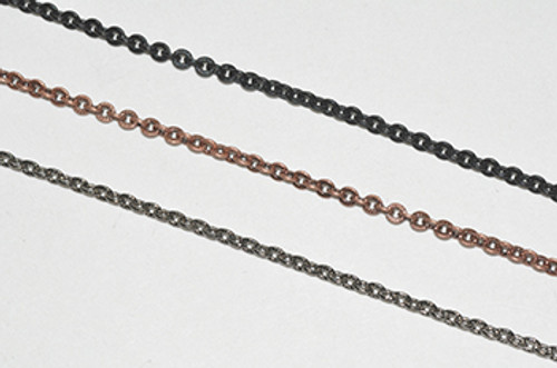 CH869 - 2.4mm x 2.6mm Textured Cable Chain, Solid Brass Electroplated (Per Foot)