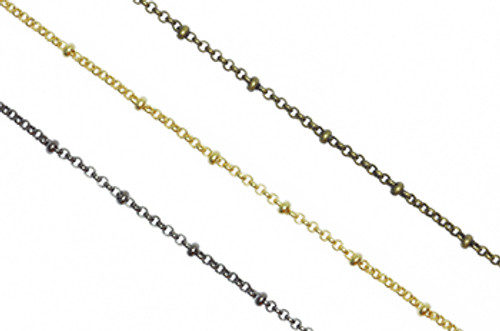 CH872 - 2mm Satellite Rolo Chain With 2.5mm Ball, Solid Brass Electroplated (Per Foot)