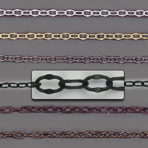 CH1010 - 4mm x 2.5mm Crimped Oval Chain, Solid Brass Electroplated (Per Foot)