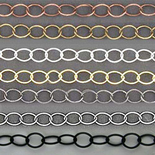 CH2600 - 6mm x 5mm Oval Cable Chain, Solid Brass Electroplated (Per Foot)