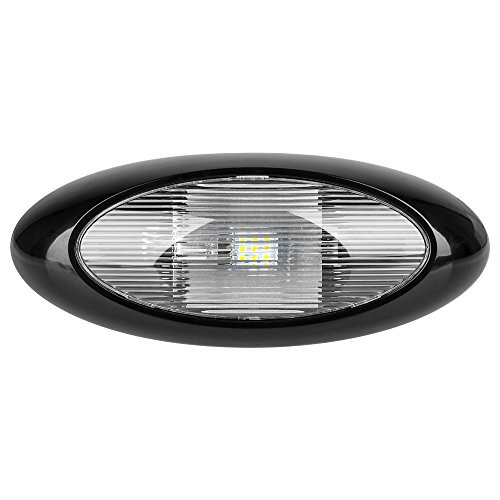 "12"" LED Oval Scare/Porch Light - Clear Lens, Black Base"