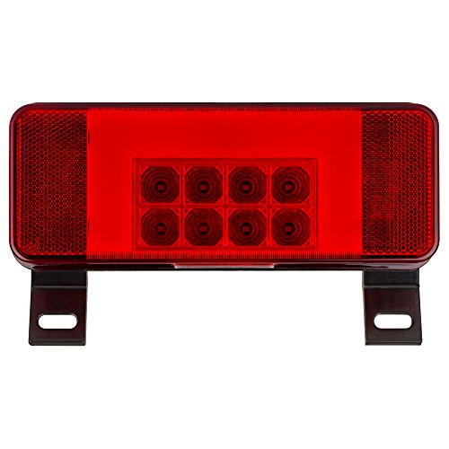 LED RV combination tail light, driver side with license illuminator, black base