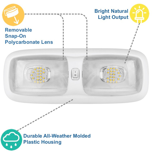 Mounting Hardware Included Provides The Light You Need In Your RV For Working and Finding At Night Lumitronics 4.5 LED Recessed RV Interior Dome Puck Light