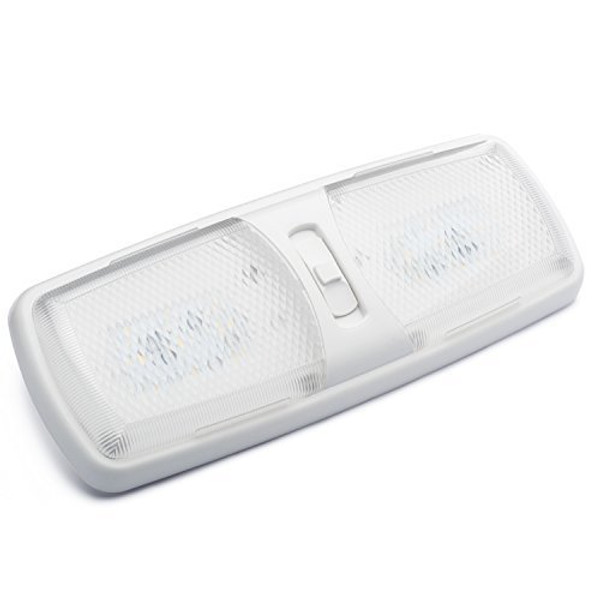 Designer Double LED RV Dome Light with 3-Way Switch and Removable Lenses
