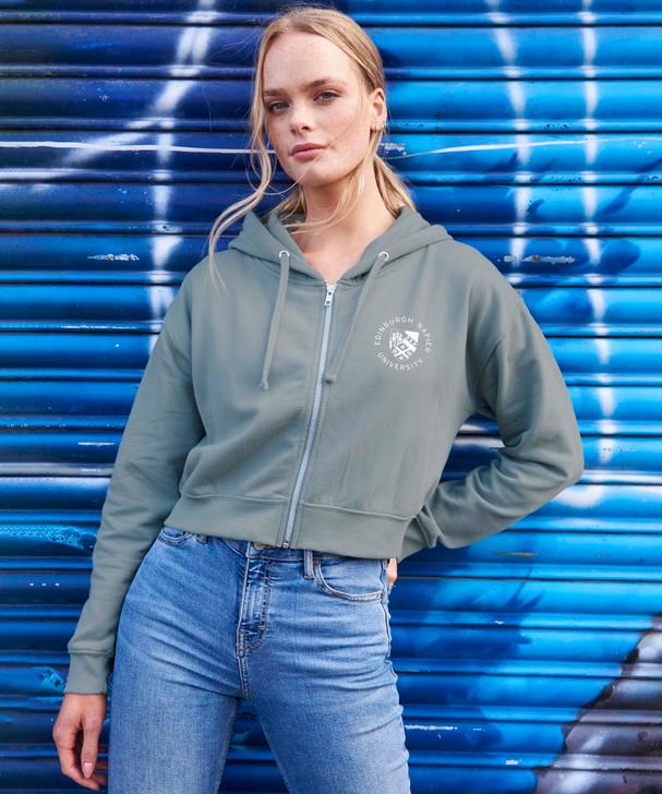 Women's Napier Pocket Logo Cropped ZIP Hoodie