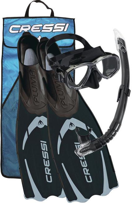 Cressi Pluma Mask Snorkel Fin Set