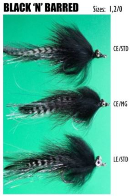 Felty's Flies Black 'N' Barred CE/MG #2/0