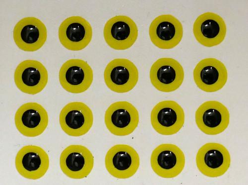 Mango Fishing Jurassic Eyes - Hot Yellow Black 6mm