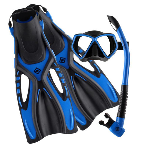 Ocean Pro Ceduna Mask Snorkel Fin Set Black/Blue