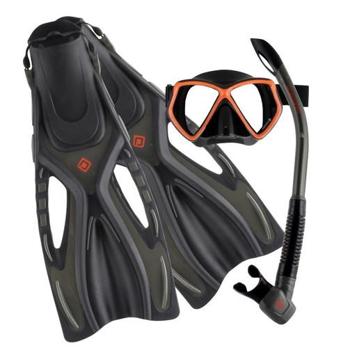 Ocean Pro Ceduna Mask Snorkel Fin Set Grey/Orange