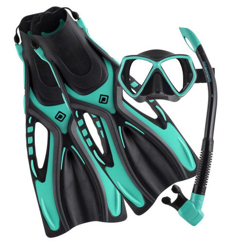 Ocean Pro Ceduna Mask Snorkel Fin Set Black/Teal