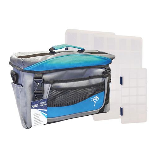 Jarvis Walker Satchel Bag with 3 Lure Boxes - Grey & Blue