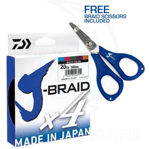 Daiwa J-Braid X4 Multi Colour 300m - With Free Scissors