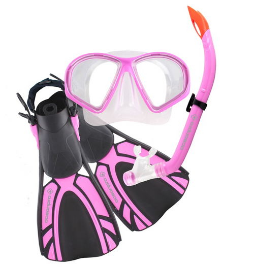 Ocean Pro Turtle Junior Mask Snorkel Fin Set Pink