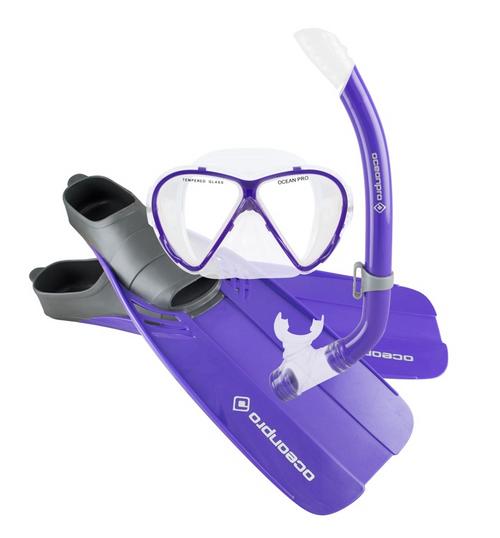 Ocean Pro Tour Junior Mask Snorkel Fins Set Purple