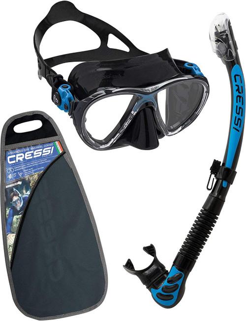 Cressi Big Eyes Evolution Alpha Ultra Dry Mask & Snorkel Set Black/Blue
