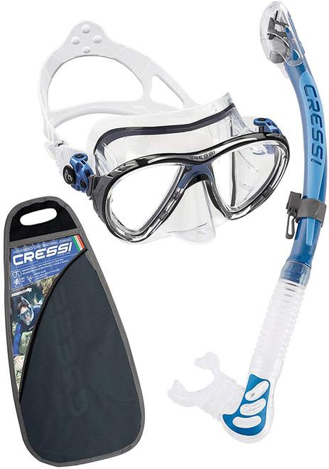 Cressi Big Eyes Evolution Alpha Ultra Dry Mask & Snorkel Set Blue