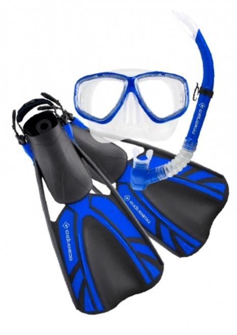 Ocean Pro Blade Size 4-8.5 Mask Snorkel Fin Set Blue
