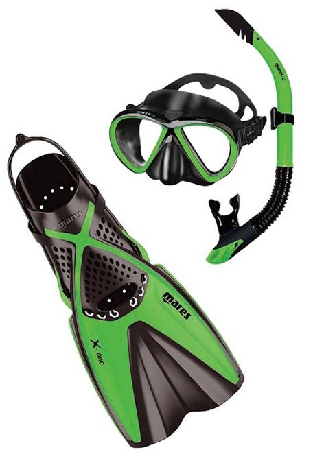 Mares Bonito X-One Mask Snorkel Fin Set Black Green