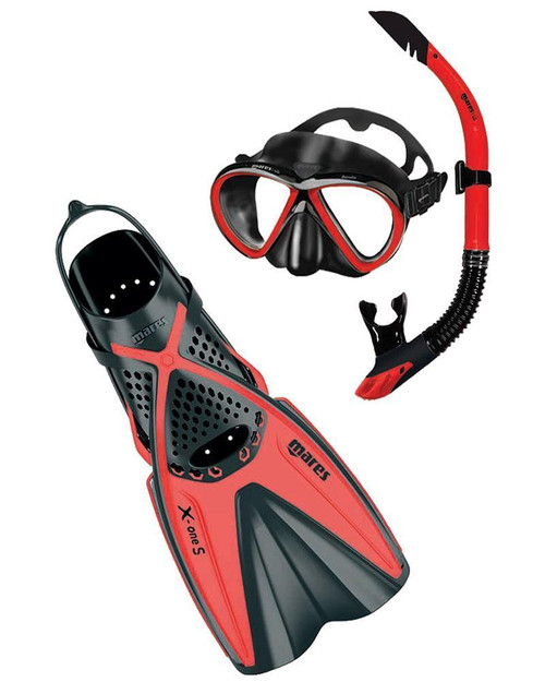 Mares Bonito X-One Mask Snorkel Fin Set Black Red