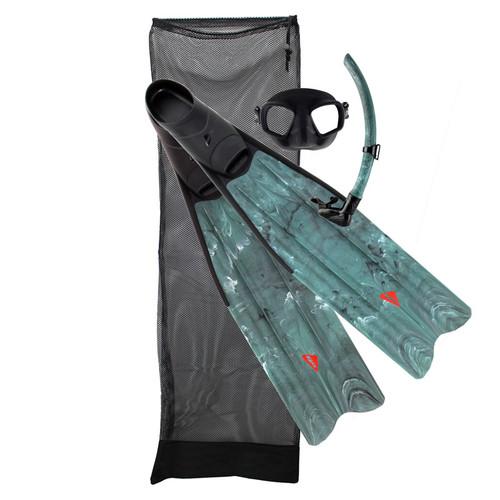 Ocean Hunter Pelagic Mask Snorkel Fin Set Green