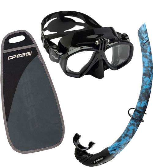 Cressi Action Free Mask & Snorkel Set Black / Blue Hunter