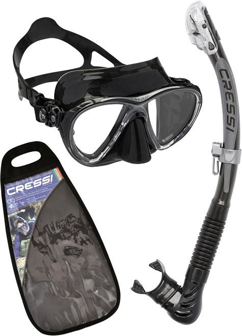 Cressi Big Eyes Evolution Alpha Ultra Dry Mask & Snorkel Set Black/Black