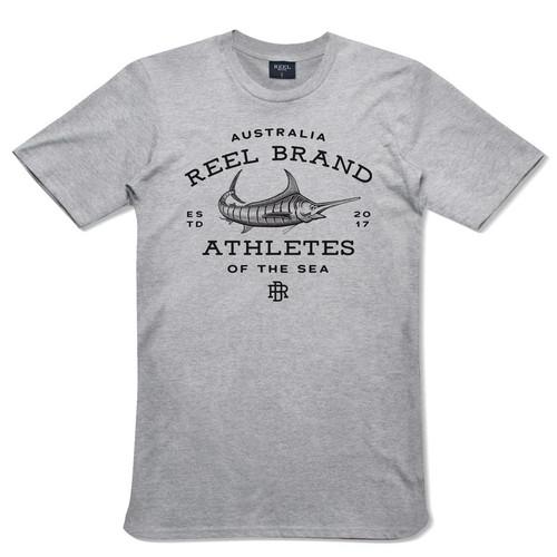 Reel Brand Marlin Logo Short Sleeve Tee Grey