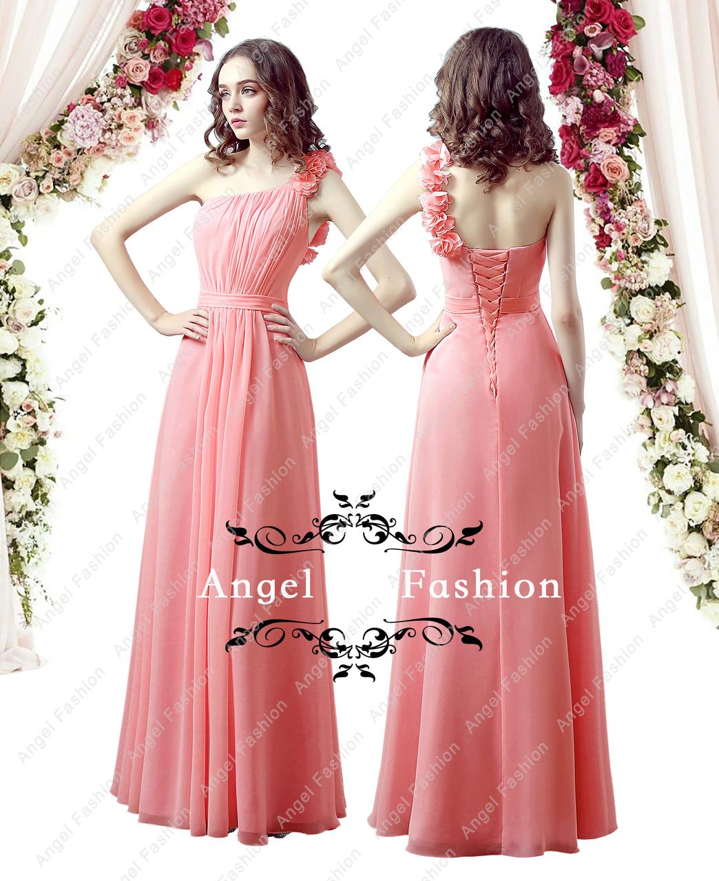 815cc7b4836 A-Line Princess Full-Length Chiffon Evening Prom Bridesmaid Dress - Angel  Fashion ltd