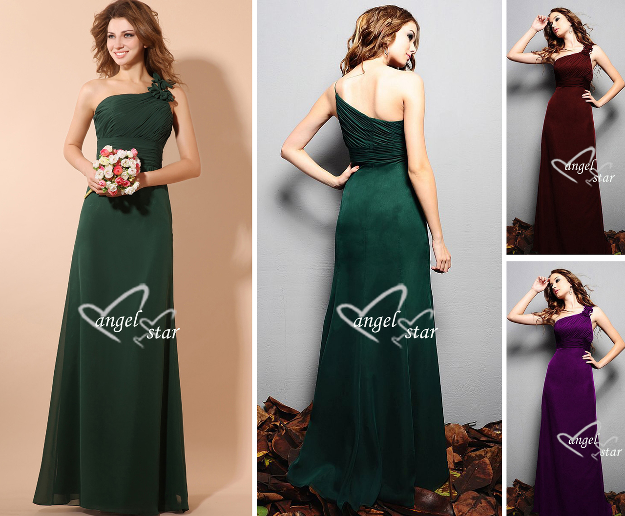 BeaUtiful One Shoulder Long Chiffion Evening Wedding Party Dress size