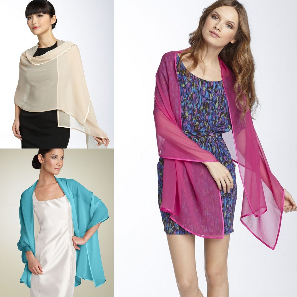 Hand Made Chiffon Shawl Scarves for Bridesmaid Wedding Party Evening Prom Dress