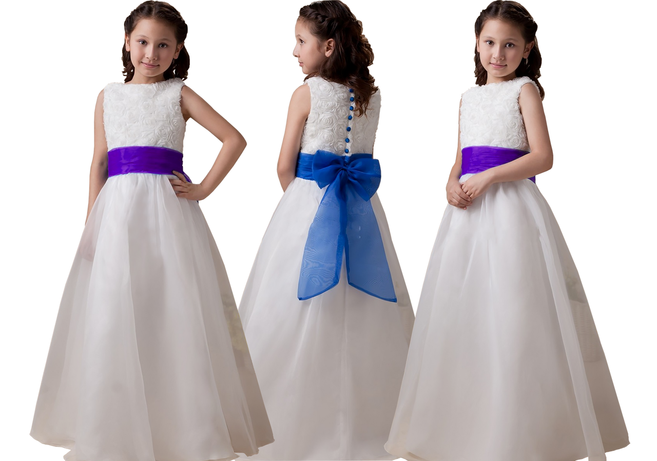 b89713f5620 Isabelle Ivory White Flower Girl Dress With Choice of Blue Purple Sash   Bow