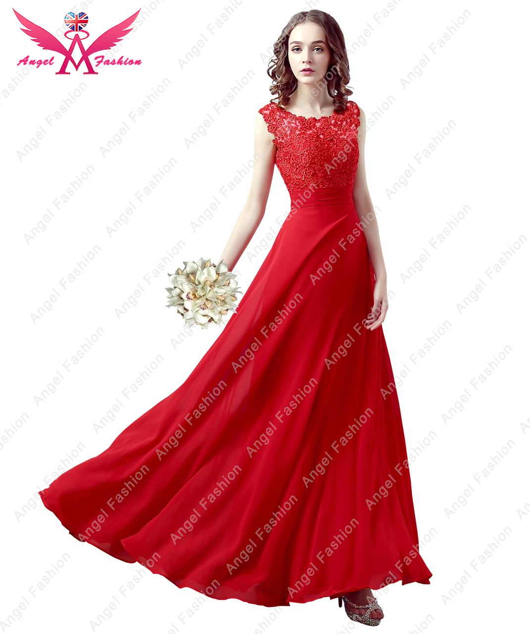 7d5bc2b17bf Floor-length Lace back   Georgette Bridesmaid Dress Petite Sheath Column  Bateau - Angel Fashion ltd