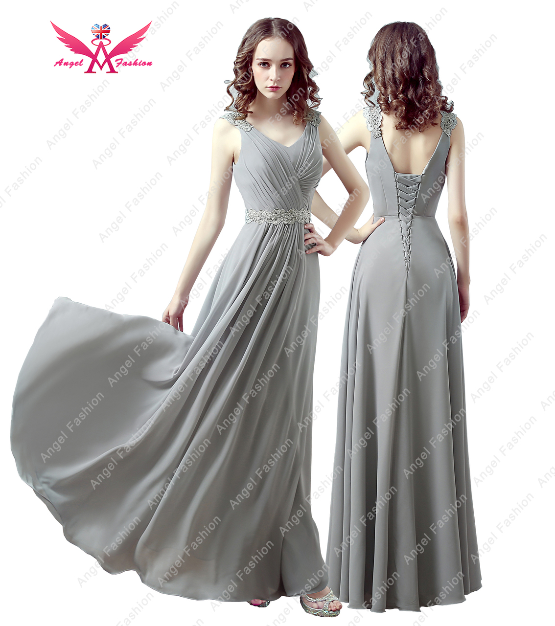 ... V-neck Long Bridesmaid Lace Back Prom Long Formal Evening Party Wedding  Dress. Share. Grey 585f490bd9c