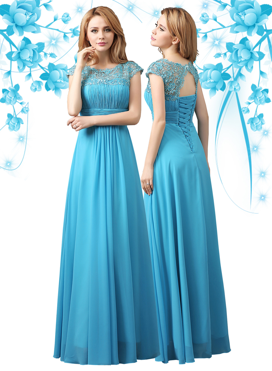 Long Chiffon Cocktail Evening Bridesmaid Party Prom Formal Gowns Wedding Dresses