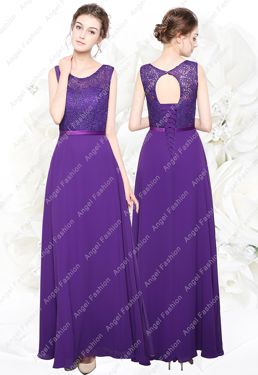 New Long Chiffon Lace Top Formal Evening Party Prom Bridesmaid Dresses