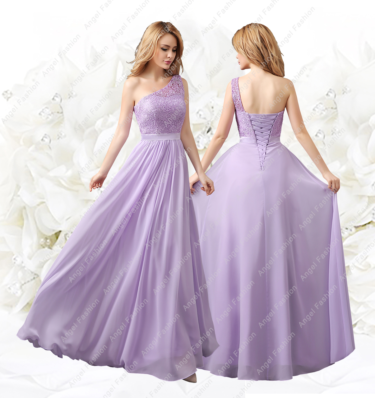 One Strap Chiffon Lace Top Formal Evening Party Prom Bridesmaid Dress