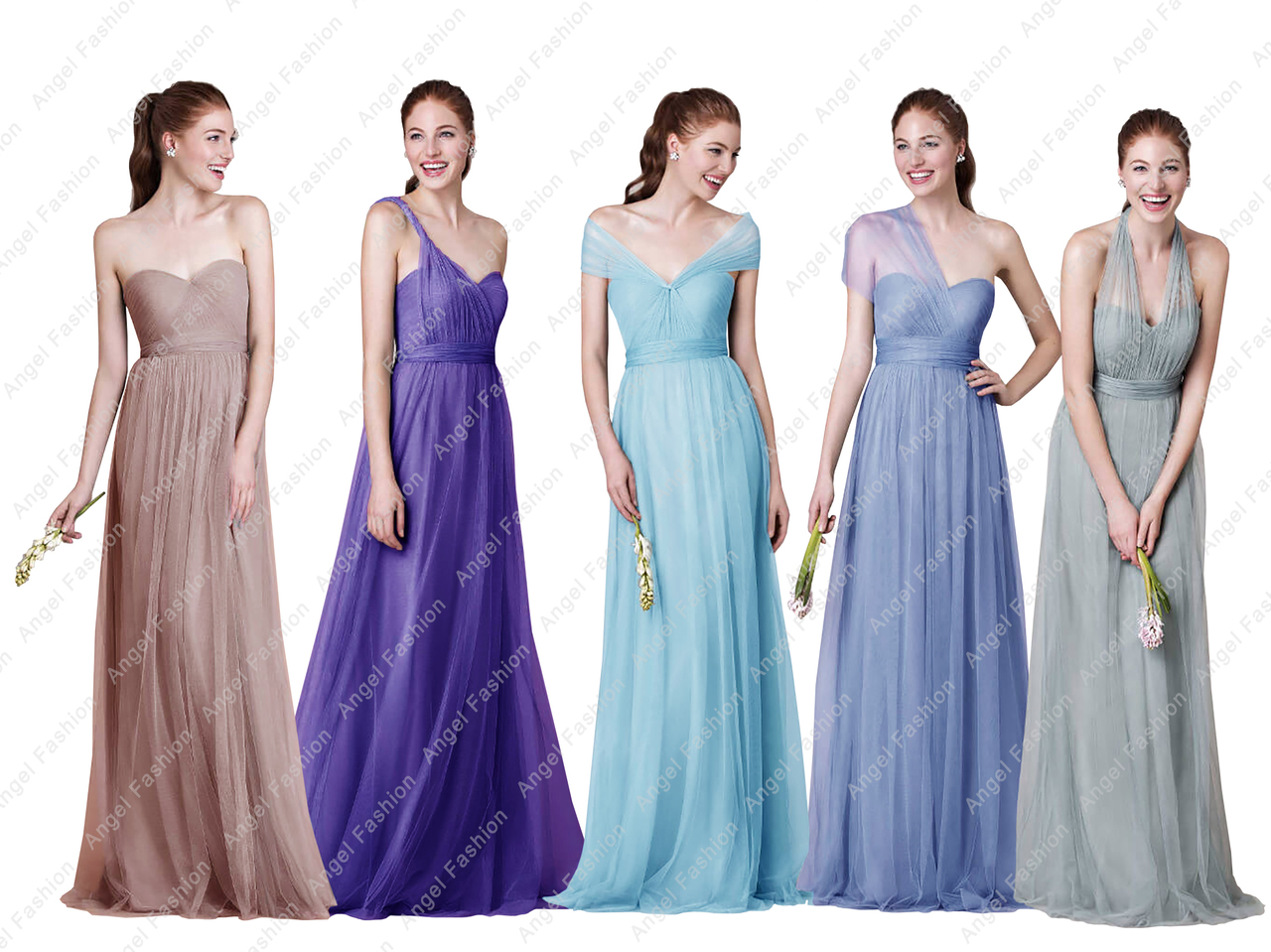 Long Chiffon  Convertible Multi Way Prom Bridesmaid Dresses UK